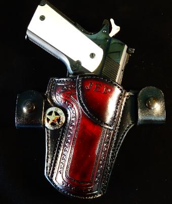 custom tooled holster with customers initials