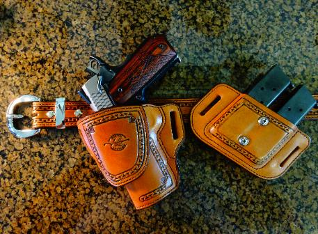 hand tooled leather holster set, gun belt