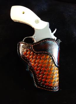 basket weave tooled leather concealment holster