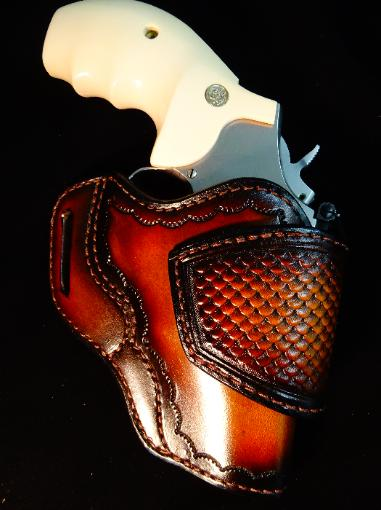 Custom leather revolver holsters
