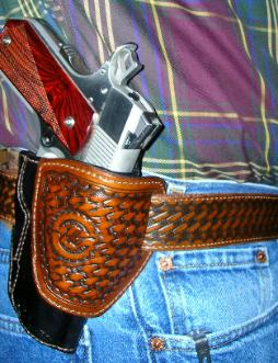 basket weave tooled leather holsters